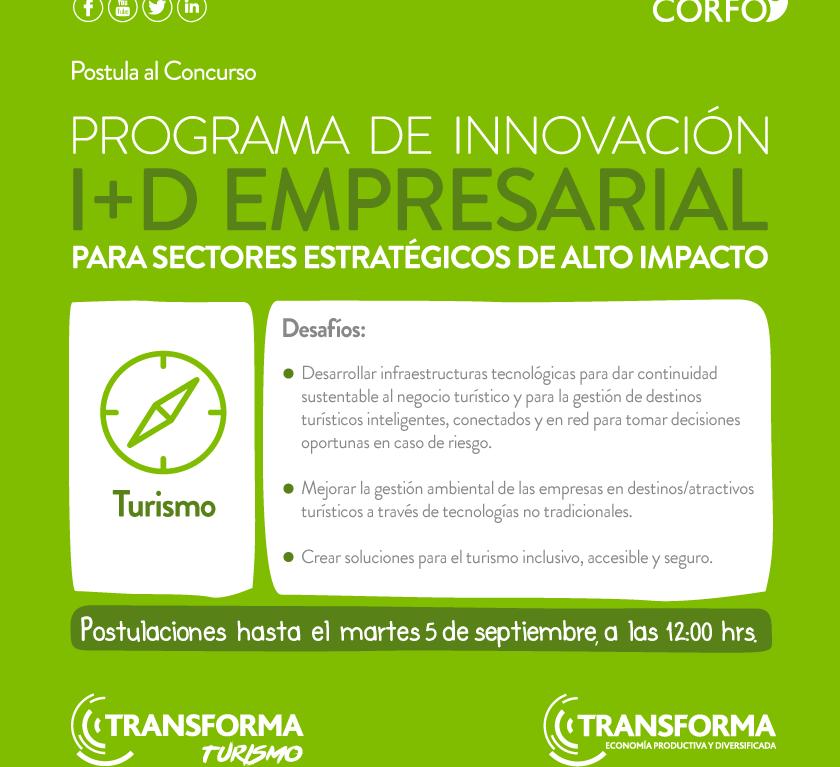 Abierta convocatoria para postular a fondos de innovación en Turismo para Desafíos Tecnológicos